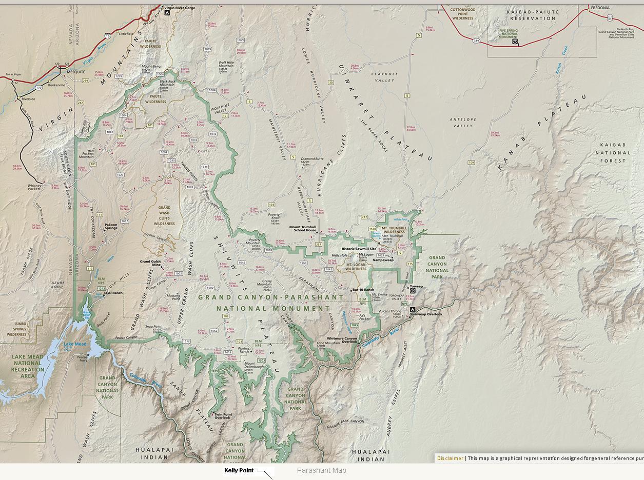 Map Of Arizona Strip.Parashant